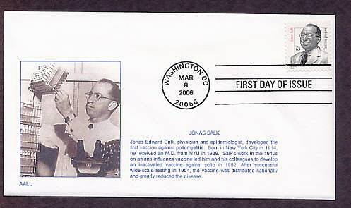 Dr. Jonas Salk, Developed Polio Virus Vaccine, Medicine 2006 First Issue USA
