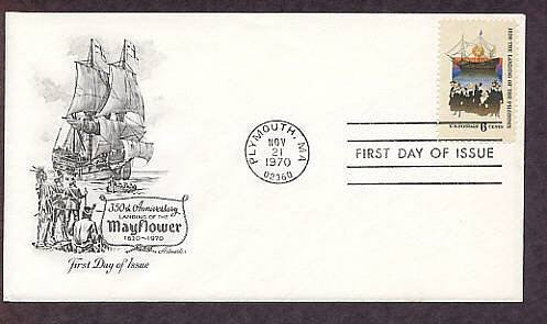 Landing of the Pilgrims, Mayflower Ship, Plymouth, Massachusetts, AM First Issue USA