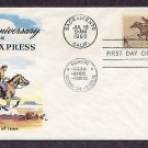 Pony Express Anniversary, Mail Carrier on Horse, First Issue, Fluegel FDC USA