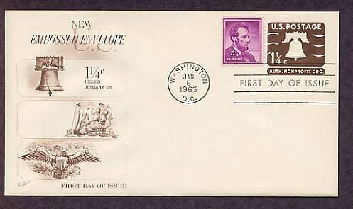 Embossed Stamped Envelope, American Revolution Liberty Bell, 1965 First Issue USA