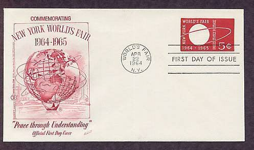 New York 1964 World's Fair, Postage Stamp Embossed Envelope First Issue USA