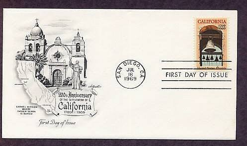 California Bicentennial, Mission Bells at Carmel, San Diego First Issue USA
