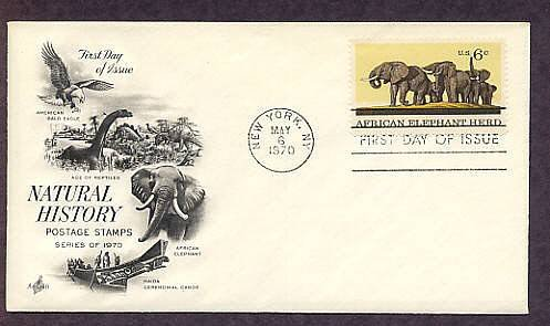 100th Anniversary of the American Museum of Natural History, African Elephant Herd, First Issue USA