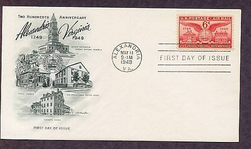 200th Anniversary of Alexandria, Virginia, 1949 First Issue USA