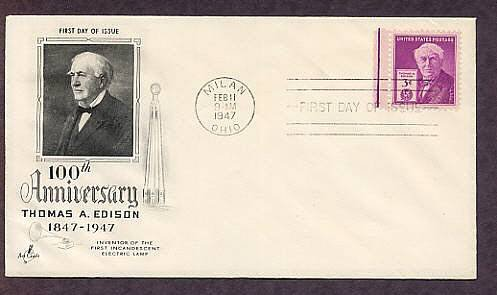 100th Anniversary of the Birth of Inventor Thomas A. Edison, 1947 First Issue USA