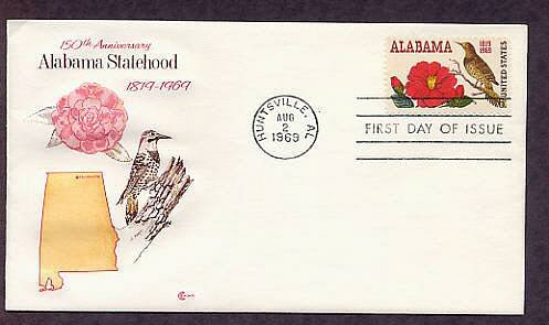 Alabama Statehood, Yellowhammer Bird, Camellia Flower, 150th Anniversary CC First Issue USA