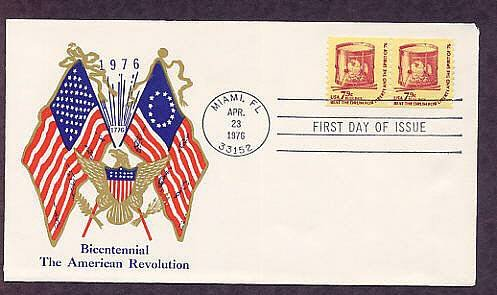 American Revolution Bicentennial, Drum, Flags, Eagle, 1976 First Issue USA
