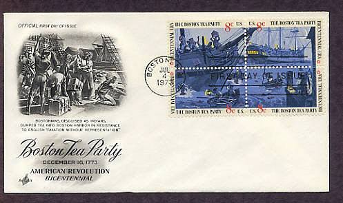 Boston Tea Party Ships, Bicentennial, American Revolution  First Issue USA