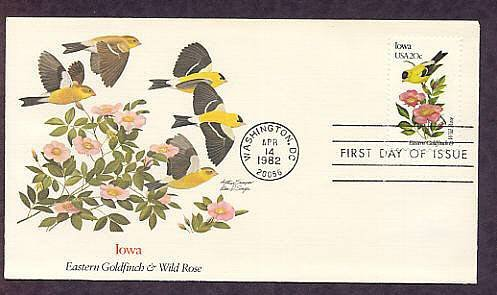 Iowa Birds and Flowers, Eastern Goldfinch, Wild Rose, First Issue USA