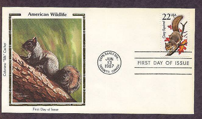 American Wildlife, Gray Squirrel, Sciurus carolinensis, Colorano Silk, First Issue USA