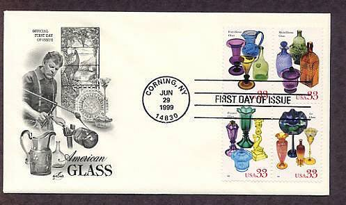 American Glass, Free-blown, Mold-blown, Pressed and Art, FDC, First Issue USA