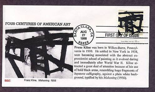 American Abstract Expressionist Painter Franz Kline, Mahoning, FDC,  First Issue USA
