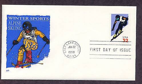Winter Sports, Alpine Skiing, Salt Lake City, Utah, First Issue USA
