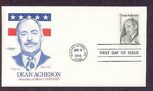 Honoring Dean Acheson, Secretary of State in the Truman Administration, First Day of Issue USA
