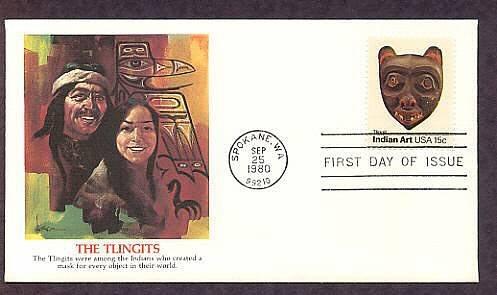 Tribal American Indian Masks, TLINGIT MASK, Folk Art, First Issue USA