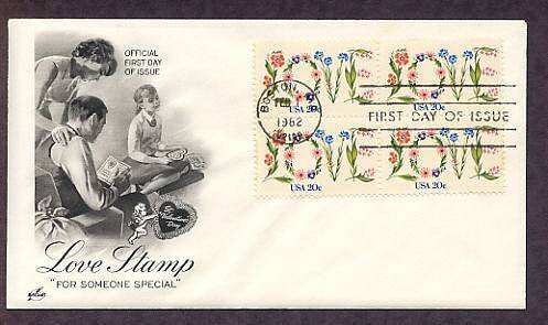 Love in Flowers 1982 Postage Stamp, Children, First Issue USPS USA