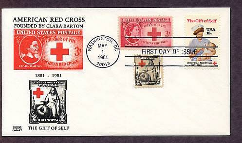 American Red Cross, Nurse and Baby, Civil War Nurse Clara Barton 1981, Combo First Issue FDC USA