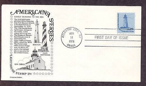 Sandy Hook Lighthouse, Oldest in USA, Atlantic City, First Issue USA FDC