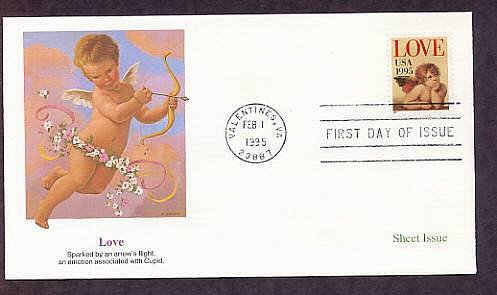 1995 USPS Love Stamp, Raphael, Cherub, Valentines, Virginia First Issue USA