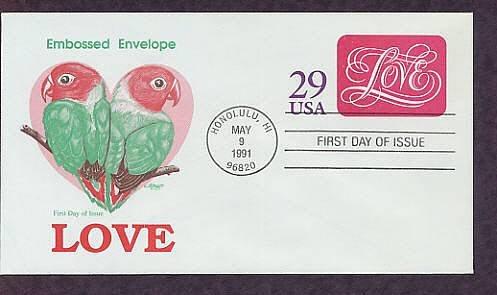 USPS Love 1991 Postage Stamped Envelope, Lovebirds, First Issue USA