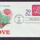 USPS Love 1991 Postage Stamped Envelope, Lovebirds, First Issue USA
