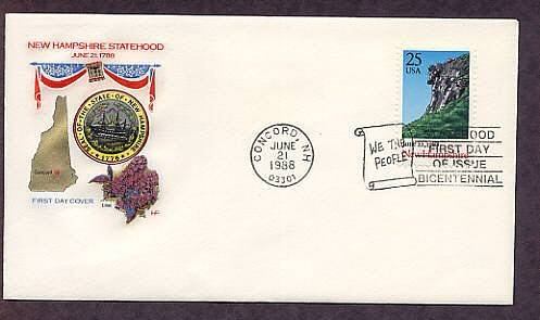 New Hampshire Statehood, Old Man of the Mountains, Concord, HF First Issue USA