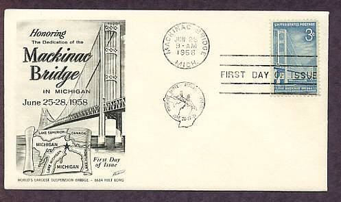 Mackinac Bridge, Michigan, Great Lakes, 1958 First Issue USA
