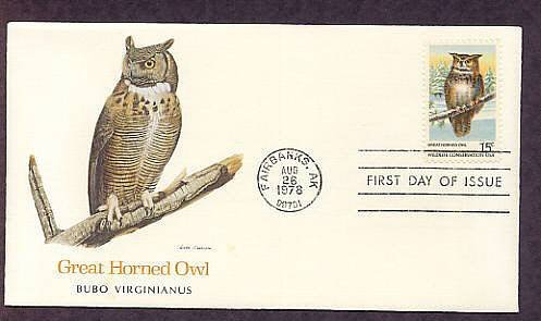 American Owls, Great Horned Owl, Bubo Virginianus, First Issue USA
