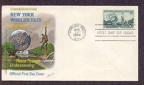New York World's Fair Stamp, Unisphere, 1964 First Issue FDC USA