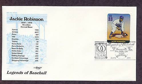 Honoring Jackie Robinson, Baseball Legend, Second Base, First Issue USPS FDC USA