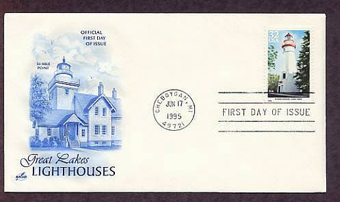 Great Lakes Lighthouses, Marblehead, Lake Erie, Michigan First Issue USA