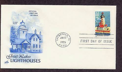 Great Lakes Lighthouses, Spectacle Reef, Lake Huron, Michigan First Issue USA