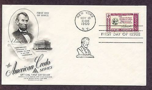 Abraham Lincoln Credo 1960 First Issue USA