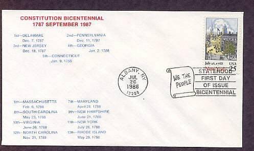New York Statehood Bicentennial, HC First Issue FDC USA