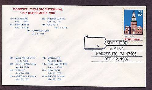 Pennsylvania Statehood Bicentennial, HC First Issue FDC USA