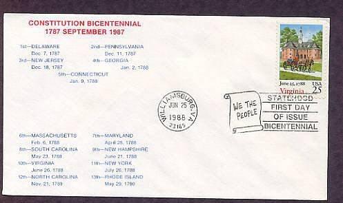 Virginia Statehood Bicentennial, HC First Issue FDC USA