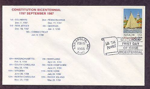 Maryland Statehood Bicentennial, HC First Issue FDC USA