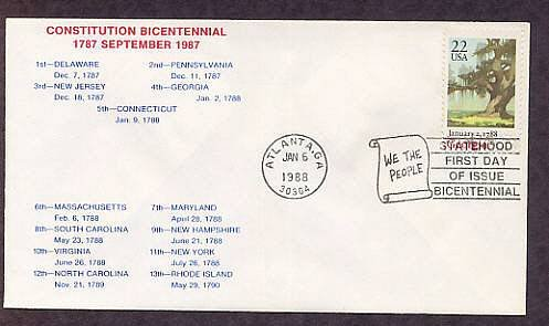 Georgia Statehood Bicentennial, HC First Issue FDC USA