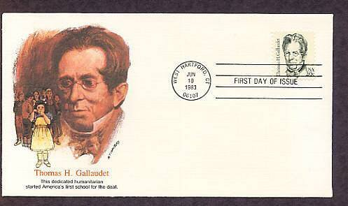 Thomas Gallaudet, Founder School for Deaf, Signing, FW First Issue USA