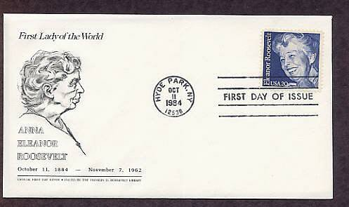In Memory of Eleanor Roosevelt, Centennial of her Birth, FDR Library First Issue USA