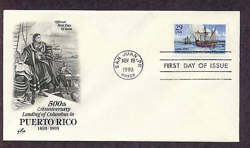 Anniversary Christopher Columbus Landing in Puerto Rico, First Issue USA