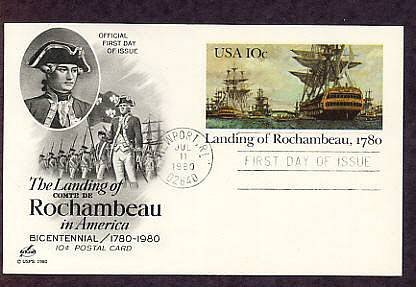 Landing of Rochambeau in America, Bicentennial Postal Card First Issue USA