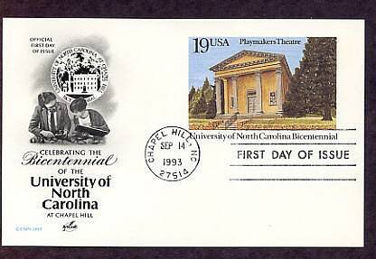 Bicentennial, University of North Carolina, Playmakers Theatre, Postal Card First Issue USA