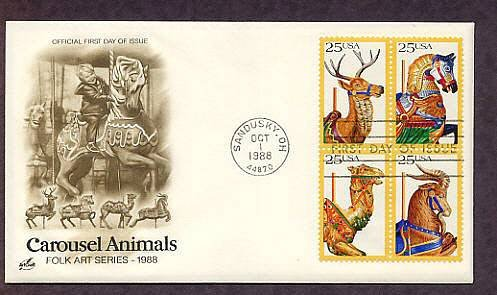 Carousel Animals, Merry Go Round, Folk Art, AC First Issue Sandusky Ohio USA