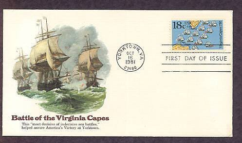 American Revolution, Battle of the Virginia Capes, First Issue USA