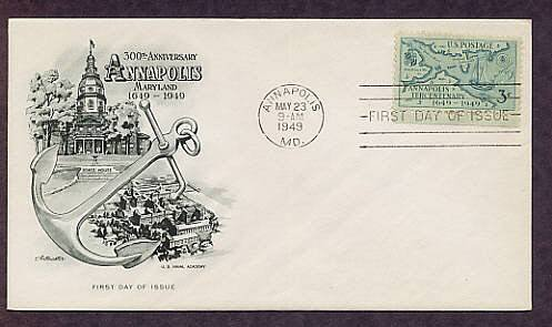 Annapolis Anniversary, Naval Academy, Maryland, 1949 First Issue USA