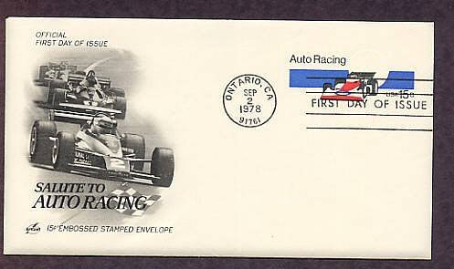 Auto Racing, Indianapolis 500 Racing Car, Embossed Stamped Envelope, First Issue USA