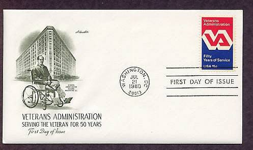50th Anniversary of the Veterans Administration, VA, First Issue USA