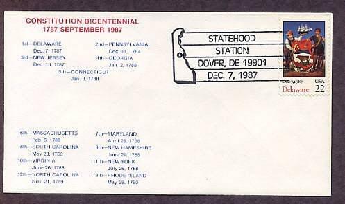 Delaware Statehood Bicentennial, HC First Issue FDC USA