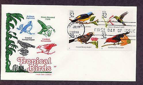 Tropical Birds, Puerto Rico, First Issue USA